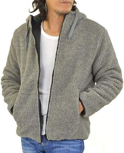 ボア ジャケット メンズ リバーシブル 中綿 ブルゾン パーカー スタンド衿