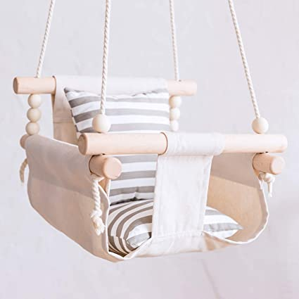Amazon Com Bopoobo Baby Canvas Swing Chair Hanging Wood Children Kindergarten Toy Outside Indoor Small Basket Beige Swinging Rocking Chair Baby Toy Toys Games