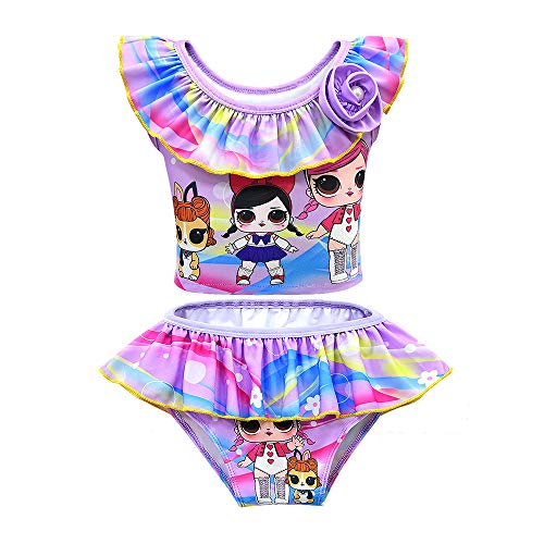 Rohero Toddler Baby Girls Swimsuits Doll Print Ruffle Tulle Swimwear Bathing Suit for Doll Surprised (150cm/ 8-9Y, Purple)