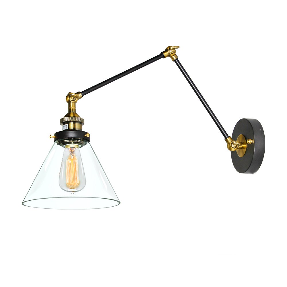 LNC Plug In Wall Lamp Adjustable Wall Sconces Clear Glass Swing Arm Sconces Wall  Lighting     Amazon.com