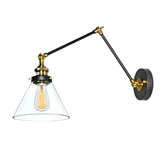 lnc plugin wall lamp adjustable wall sconces clear glass swing arm sconces wall lighting