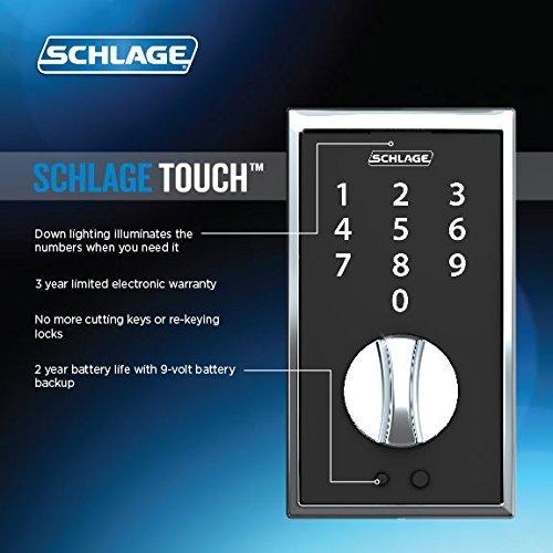 Schlage Touch Fe375 Cen 622 Lat Matte Black Keyless