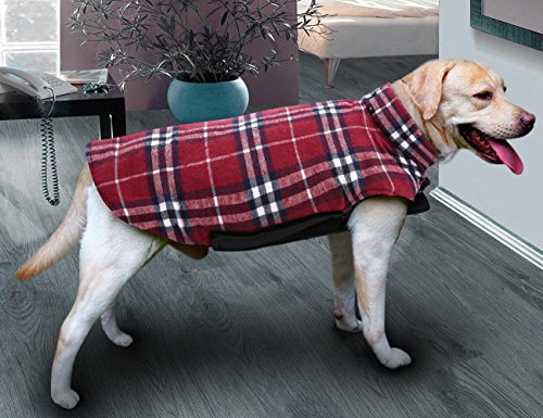 Picture of MIGOHI Dog Jackets for Winter Windproof Waterproof Reversible Dog Coat for Cold Weather British Style Plaid Warm Dog Vest for Small Medium Large Dogs RED S
