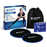 LifePro Core Exercise Sliders Gliding Discs - Fitness Equipment for Low Impact, Full Body and Ab Workout - Dual Sided Slides on Any Floor - Free Manual, Personal Training Home Videos & Storage Bag