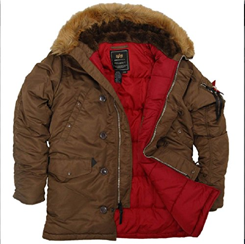 - Alpha Industries Men's Slim Fit N-3B Parka 5X-Large Brown/Red