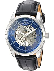Lucien Piccard Mens Hampton Mechanical Hand Wind Stainless Steel and Leather Casual Watch, Color:Black (Model...