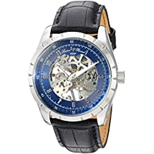 Lucien Piccard Men's 'Hampton' Mechanical Hand Wind Stainless Steel and Leather Casual Watch, Color:Black (Model: LP-40028M-03)