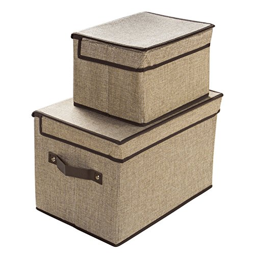LightBiz Fabric Storage Bins with Lids, Larger & Small Foldable Closet Organizer Storage