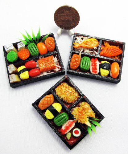 ThaiHonest 3 Mix Dollhouse miniature Sushi Bento ,Tiny Food,Dollhouse Food from ThaiHonest
