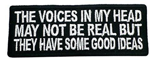 THE VOICES IN MY HEAD MAY NO BE REAL BUT THEY HAVE SOME GOOD IDEAS Patch Funny Saying Text Words Logo Humor Theme Series Embroidered Sew / Iron on Badge DIY Appliques