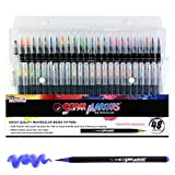 #10: 48 Color Super Markers Watercolor Soft Flexible Brush Tip Pens Set - Fine & Broad Lines, Vibrant Colors - Children & Adult Coloring Books, Manga, Comic, Calligraphy, Art