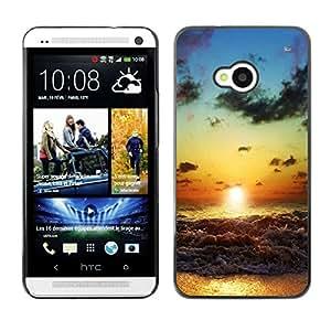 // PHONE CASE GIFT // Duro Estuche protector PC Cáscara Plástico Carcasa Funda Hard Protective Case for HTC One M7 / Beach Sunset Waves /