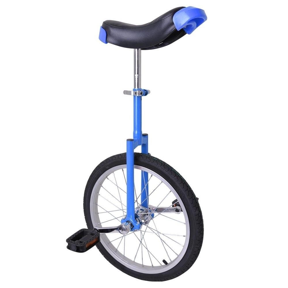 18'' Wheel Adjustable Height Unicycle Balance Exercise Blue & Black by FDInspiration