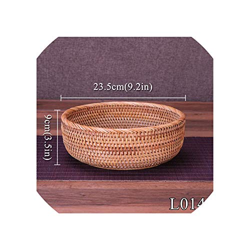 Round Storage Basket Fruit Dish Rattan for Weaving Handmade for Kitchen Food Picnic Bread Sundries Decor Container Organizer,23Cml014M