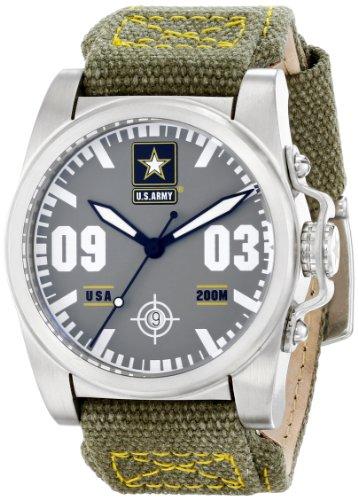 Wrist Armor Men's WA203 C1 Stainless Steel Analog Display Swiss Quartz Watch with Green Canvas Strap