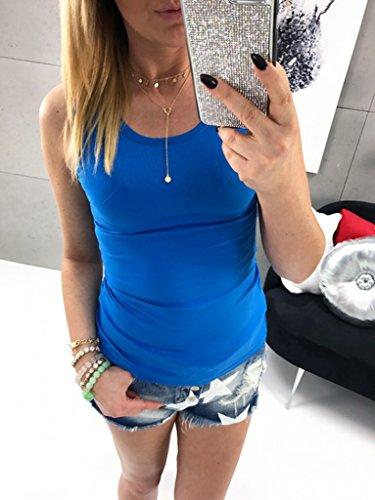 en Coton Shirt Bleu Manches Nu Dentelle T Dbardeur Femme COMVIP Basique sans Dos Jointif qxTFFaP