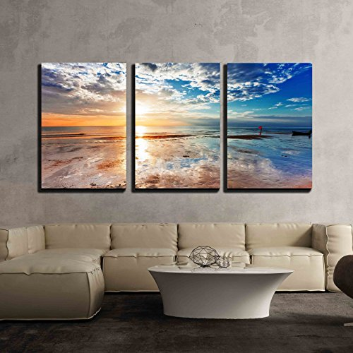Tropical Beach at Beautiful Sunset Nature Background x3 Panels