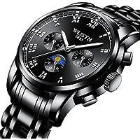 [Sponsored] Watches, Men's quartz Analog Chronograph Black Wrist Watch Stainless Steel Band