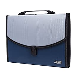 Expandable Portable Hand-Held Accordion File Document Folder File Organizer A4 and Letter Size 13 Pockets Blue