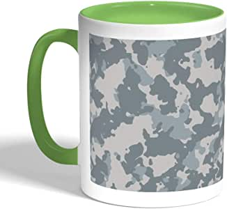 كوب سيراميك للقهوة بتصميم زي الجيش، لون اخضر