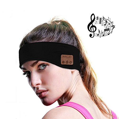 Efanr Bluetooth Music Headband, Wireless Stereo Speakers with Mic Headphones Headset Earbuds Sweatband Women Men Hands-Free Headgear for Sport Gym Fitness Exercise Outdoor Running Sleeping (Black)