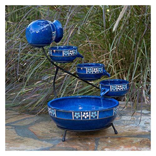 Unbranded* Solar Ceramic Cobalt Blue 4 Tier Mexicana Style Cascade Fountain Flower (Ceramic Cascade Fountain)