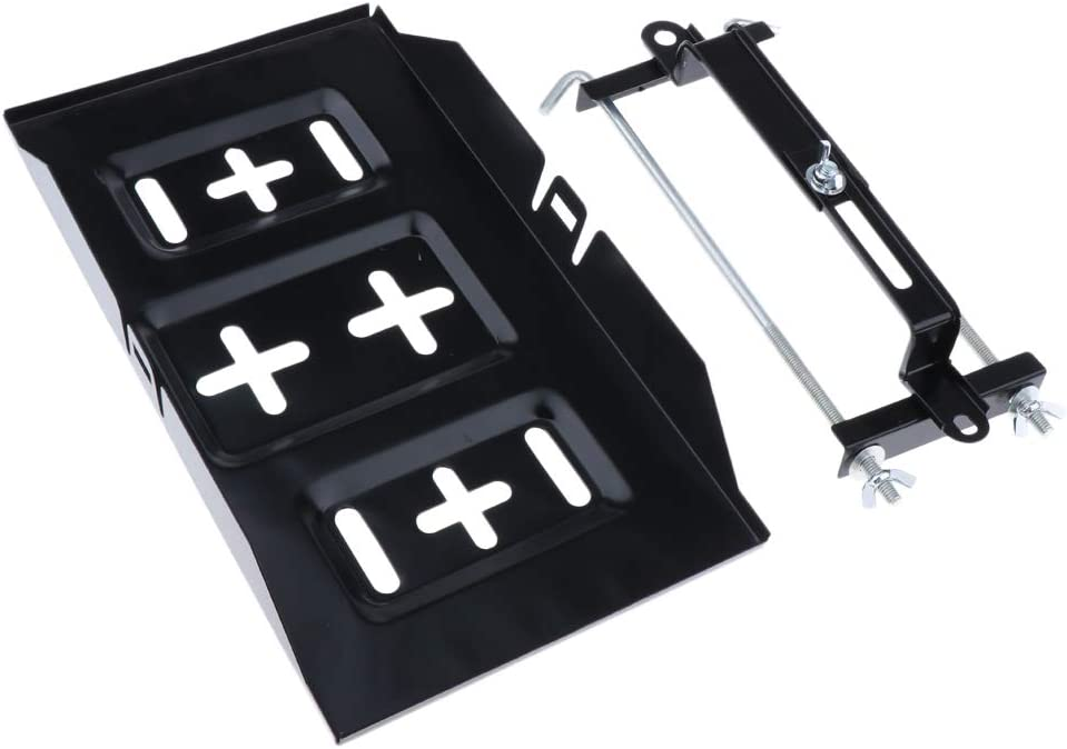 Storage Battery Holder Stabilizer Tray Black WD-ZJ02 Almencla Universal Car Battery Tray with Hold Down Clamp Kit 34cm tray +27cm holder