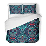 SanChic Duvet Cover Set Pattern Ornamental Skull Sugar Tattoo Mexican School Old Decorative Bedding Set with 2 Pillow Shams King Size