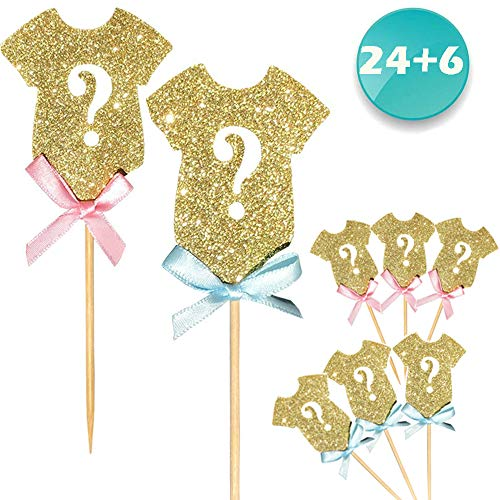ALISSAR 30-Pack Glitter Gender Reveal Cupcake Toppers, Gender Reveal Baby Shower Party Cake Food Decoration Supplies]()