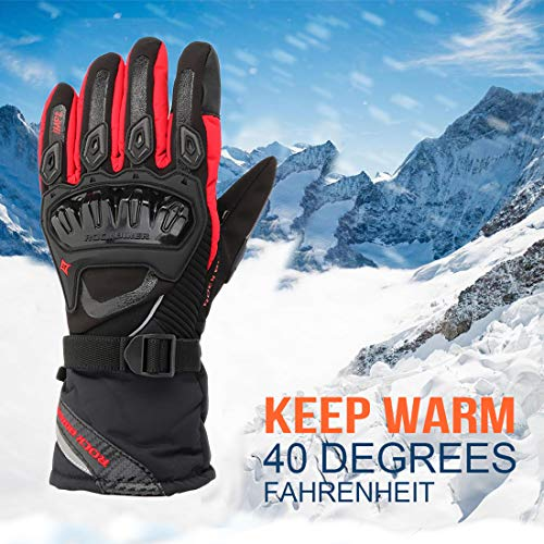 (KEMiMOTO Motorcycle Gloves Winter Waterproof Riding Gloves Men Touchscreen Women Gauntlet for Cold Updated Version Four-layer Structure Third Generation)
