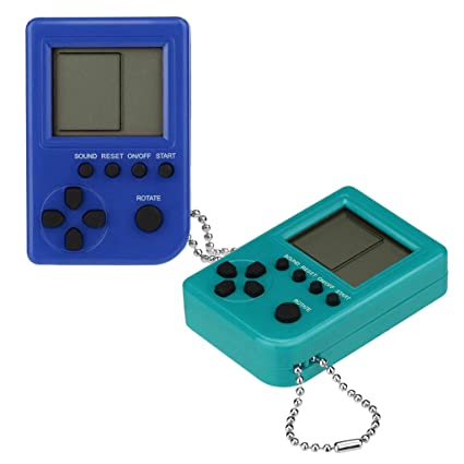 Cywulin Retro Mini Keychain Pendant Game Tetris Game Console Toy 2 PC  Packaging Toys Built-in 26 Games Travel Portable Gaming System Electronics