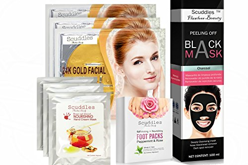 Scuddles regimen set includes Blackhead remover mask, 3 collagen mask, 3 hand Masks and 4 PAIRS nourishing Exfoliating foot masks