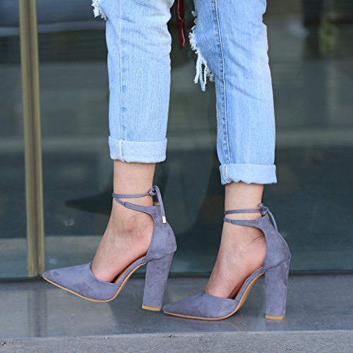 Chaussures Femme Hauts Hengsong Profondes À Cheville Peu Gris Épais Bouche Sandales Suède Nœud Eté Talons gdqwOd