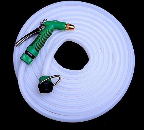 ZLJTYN High Pressure Car Wash Water Gun Hose Cattle Tendon Hose Sets Brush Car Watering Hose Water Pipe Pvc Anti Freeze Explosion-Proof,Green Gun White Tube 50 Meter Suit