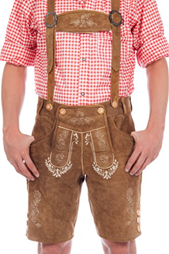 Bundhosen Costume (Bavarian traditional leather trousers Lederhosen with suspenders,brown, GE 46 (US: 32 Inch))
