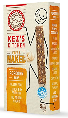 Kez's Kitchen Free & Naked Popcorn Bars - Australia's #1 Snack Bar - Gluten Free - Vegan - Non GMO - Lunchbox Friendly - No Added Sugar - Paleo Friendly - 25 g each