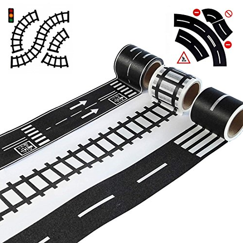 ROCHU Road Tape for Toy Car DIY Traffic Road Railway Adhesive Removable Tape for Kids Toy Cars
