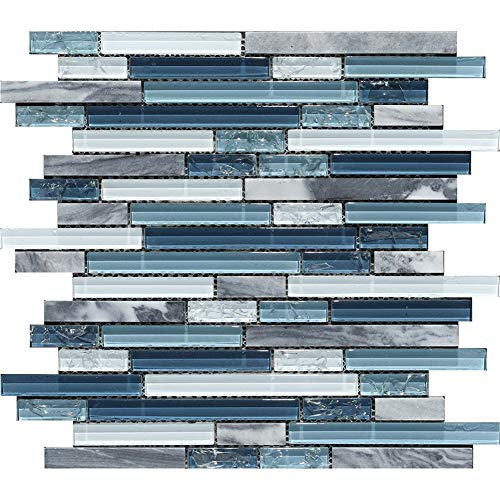 Ocean Blue Glass Nature Stone Tile Kitchen Backsplash Art Wall Decor Mosaic Tile for Bathroom ()