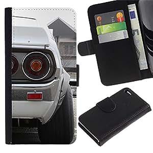 """A-type (Blanca Datsun"""") Colorida Impresión Funda Cuero Monedero Caja Bolsa Cubierta Caja Piel Card Slots Para Apple Apple iPhone 4 / iPhone 4S"""
