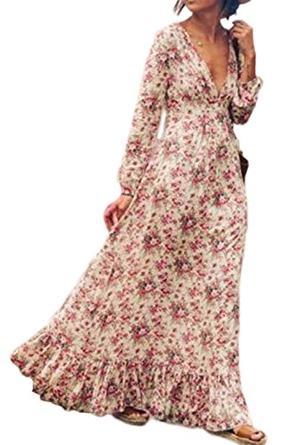Swing Neck Plus Dress Women Long 's Bohemian Pink Long Sleeve Floral Sevozimda Maxi Size V Print f7688x