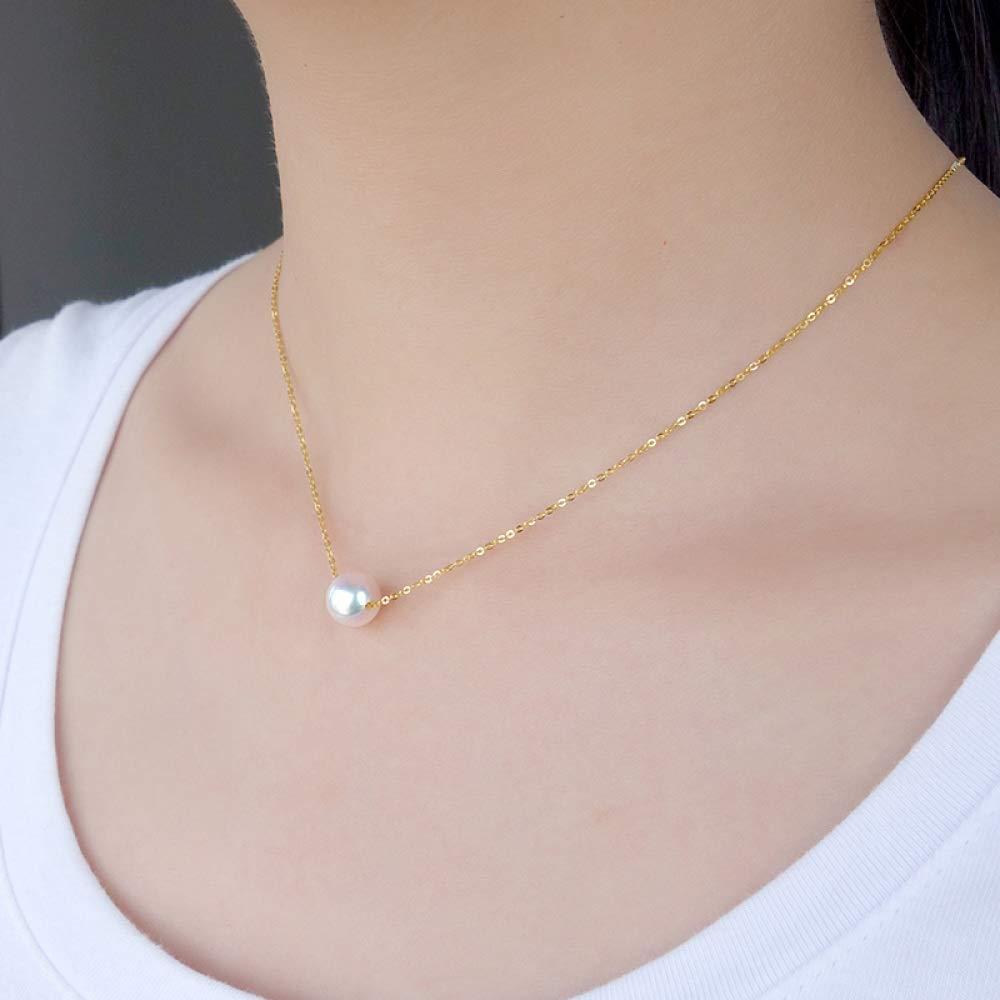 bece69e912c3 Lnyy Collar de Perlas Sola Agua de mar de la Perla Colgante Oro 18K  Cerradura del Hueso de San Valentín Collar para Enviar Novia  Amazon.es   Jardín