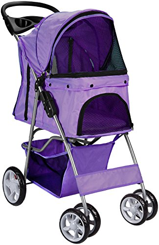 Pet Stroller Cat Dog 4 Wheeler Stroller Travel Folding Carrier Purple