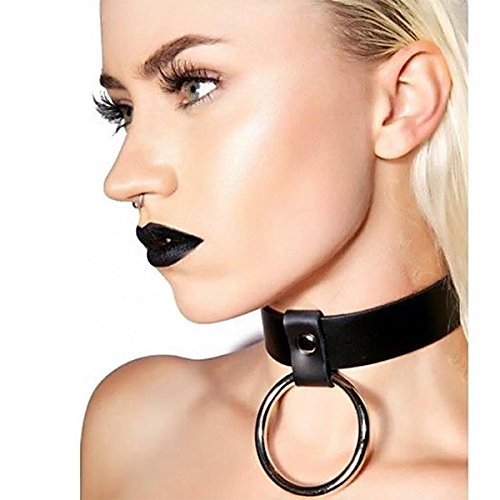 Homelix Gothic Black O-Ring Collar Punk Leather Choker Necklace For Girls Women