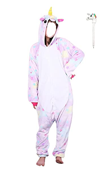 FLEAP Onesie Pajamas Animal Sleepwear Kigurumi Cosplay Cartoon Nightwear Halloween,Star Pegasus Pen,Small