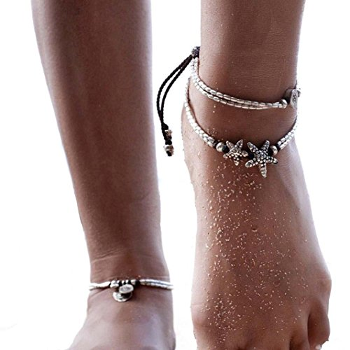 - MingJun Boho Rune Starfish Anklet Buddha Foot Jewelry Ankle Bracelet For Women Summer Barefoot Beach Anklet (Rune+Starfish)