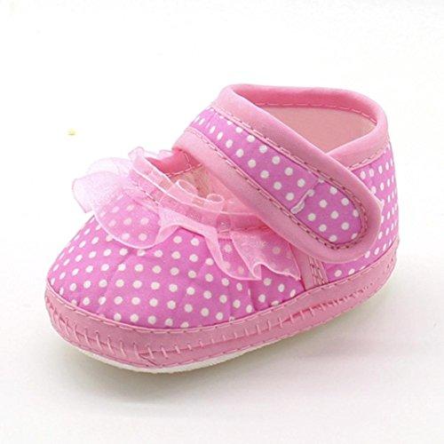 SYY Niedlich 0-1 Jahre alt Neugeborenen Baby Mädchen Dot Spitze Weiche Sohle Prewalker Erwärmung Casual Wohnungen Schuhe Rosa