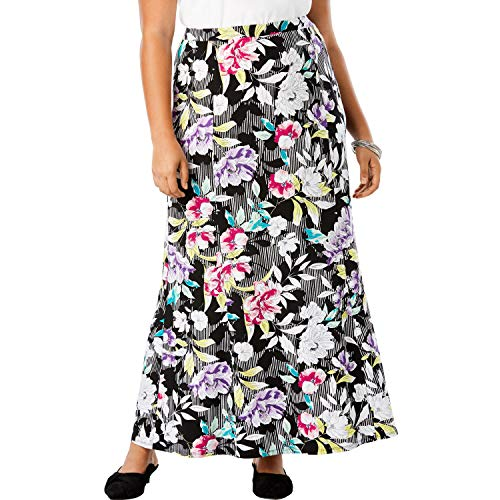 's Plus Size Travel Knit Maxi Skirt - Black Stripe Floral, 22/24 ()