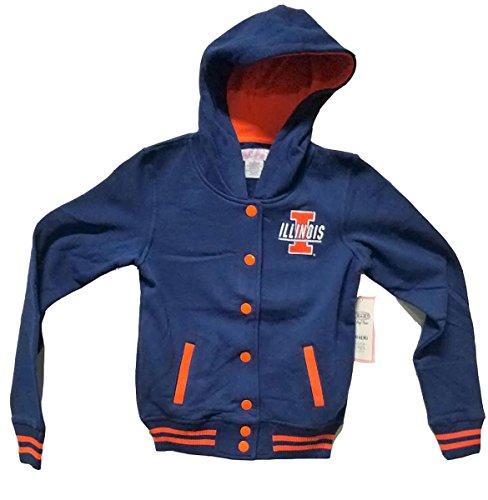 Illinois Singlet - E5 College Classics Illinois Fighting Illini Button-Down Sweatshirt w/Hood (S) Blue and Orange