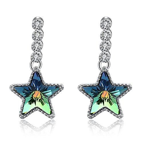 terling Silver Star Charm with Swarovski Elements Crystal Aurora Borealis Star Drop Earrings ()