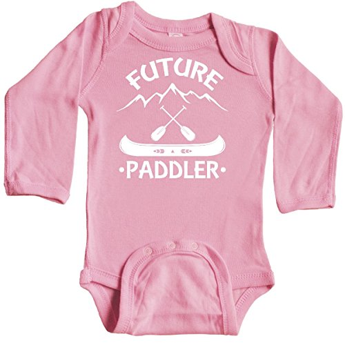 inktastic - Canoe Future Paddler Long Sleeve Creeper 6 Months Light Pink 3029b ()